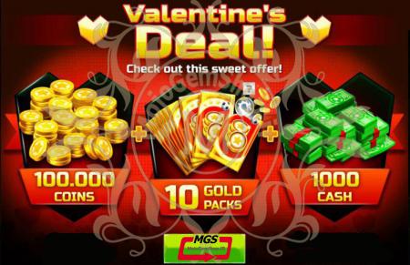 ایونت Valentine Deal! 1 (شامل ۱۰۰۰ دلار، ۱۰۰،۰۰۰ سکه و ۱۰ گلدپک)