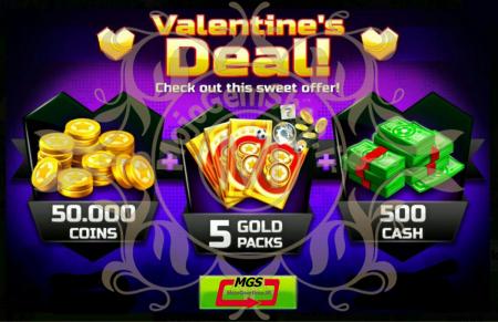ایونت Valentine Deal! 2 ( شامل ۵۰۰دلار، ۵۰،۰۰۰ سکه و ۵ گلد پک)