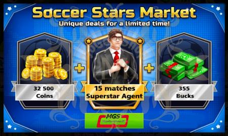 ایونت Soccer Stars Market (شامل ۳۵۵ دلار، ۱۵ بازی با مربی سوپر استارز، ۳۲۵۰۰ سکه)