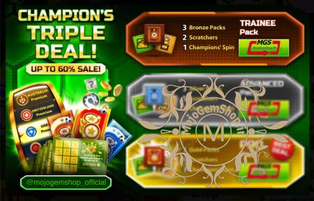 ایونت Champion's Triple Deal (شامل ۱ چمپیون اسپین، ۳ پک برنز و ۲ اسکرچ)