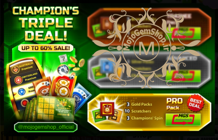 ایونت Champion's Triple Deal (شامل ۳ چمپیون اسپین، ۳ پک طلایی و ۱۰ اسکرچ)