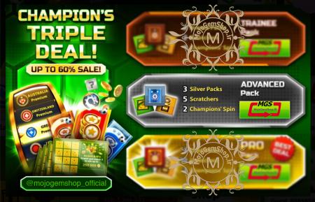 ایونت Champion's Triple Deal (شامل ۲ چمپیون اسپین، ۳ پک سیلور و ۵ اسکرچ)