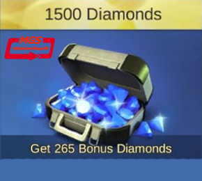 ۱۵۰۰ الماس بازیMobile Legend (همراه با ۲۶۵ الماس هدیه)
