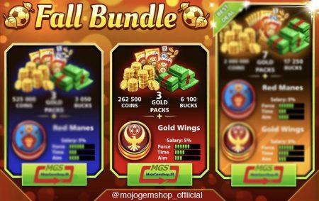 ایونت Fall Bundle (شامل ۳ پک طلایی، ۶۱۰۰ دلار، ۲۶۲,۰۰۰ سکه و مهره ویژه)