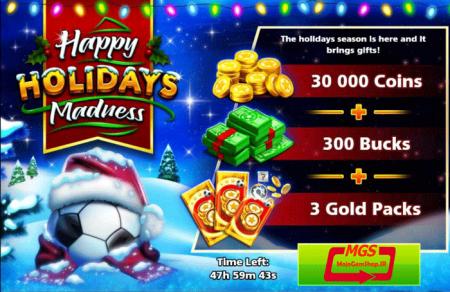 ایونت Happy Holidays (شامل ۳۰۰ دلار، ۳ پک طلایی و ۳۰ هزار سکه )