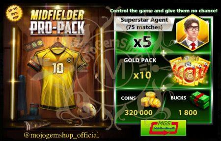 ایونت MIDFIELDER PRO-PACK 4 ( شامل ۱۸۰۰ دلار، ۷۵ مربی سوپراستار، ۱۰ گلد پک و ۳۲۰۰۰۰ سکه)