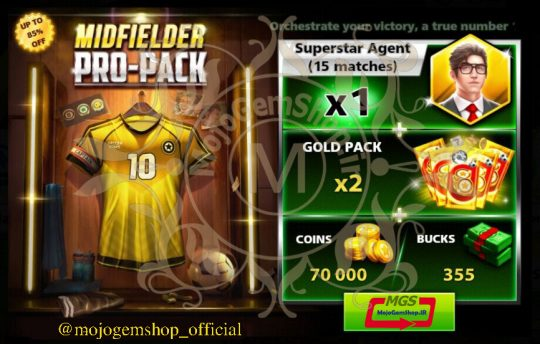 ایونت MIDFIELDER PRO-PACK 2 ( شامل ۳۵۵ دلار، ۱۵ مربی سوپراستار، ۲ گلد پک و ۷۰۰۰۰ سکه)