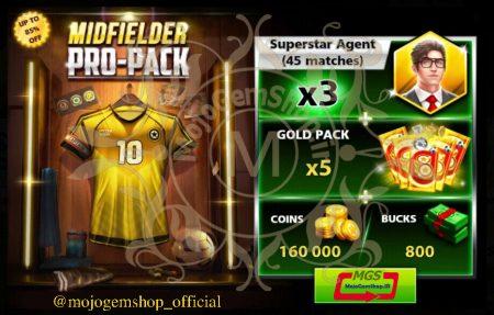 ایونت MIDFIELDER PRO-PACK 3 ( شامل ۸۰۰ دلار، ۴۵ مربی سوپراستار، ۵ گلد پک و ۱۶۰۰۰۰ سکه)