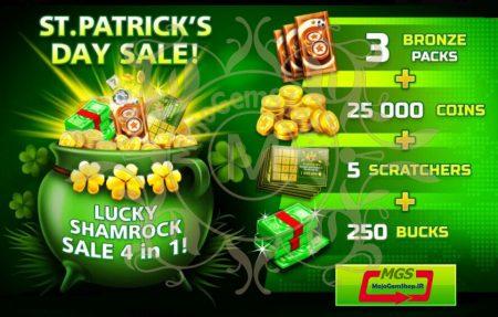 ایونت ST. PATRIK'S DAY 1 (شامل ۲۵۰ دلار، ۳ بسته برنز، ۲۵ هزار سکه و ۵ اسکرچر)