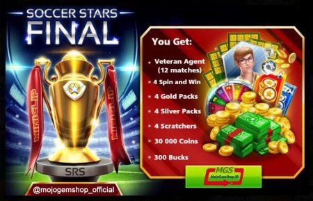 ایونت *FINAL* بازی ساکر استارز (۳۰۰ دلار، ۴ پک طلایی، ۴ پک نقره ای، مربی وترن و ۴ اسکرچ، ۳۰،۰۰۰  سکه)