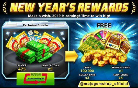ایونت New Year Reward (شامل پریمیوم اسپین، ۲ گلدن اسپین و ۱۲۵ دلار، ۲ اسکرچ، ۱ گلدن اسپین و ۳۲ هزار سکه)