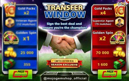 ایونت Transfer Window (شامل ۲ گلد پک، ۳۵۵ دلار، ۱۲ مربی وترن، ۱ گلدن اسپین و ۲۵ هزار سکه)