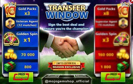 ایونت Transfer Window (شامل ۳ گلد پک، ۸۰۰ دلار، ۱۲ مربی وترن، ۱ گلدن اسپین و ۷۰ هزار سکه)