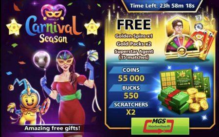 ایونت Carnival (شامل ۵۵۰ دلار،۲ پک طلایی، ۱۵ مربی سوپراستارز، گلدن اسپین و ۵۵ هزار سکه و ۲ اسکرچ)