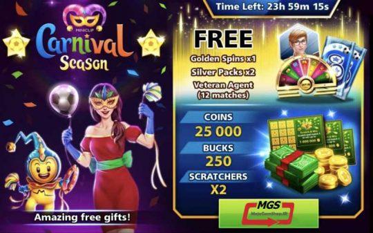 ایونت Carnival (شامل ۲۵۰ دلار،۲ پک نقره ای، ۱۲ مربی وترن، گلدن اسپین و ۲۵ هزار سکه و ۲ اسکرچ)