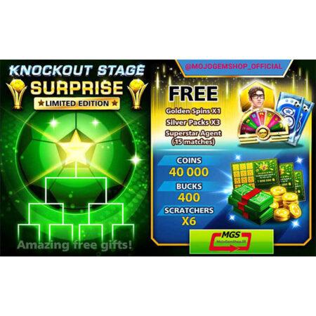 ایونت KNOCKOUT STAGE (شامل ۴۰۰ دلار و ۳ سیلور پک و ۱۵ مربی سوپراستارز و ۶ اسکرچر، ۱ گلدن اسپین و ۴۰ هزار سکه)