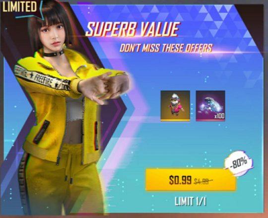 آفر 0.99 دلاری SUPERB VALUE فری فایر- کاراکتر (زرد)