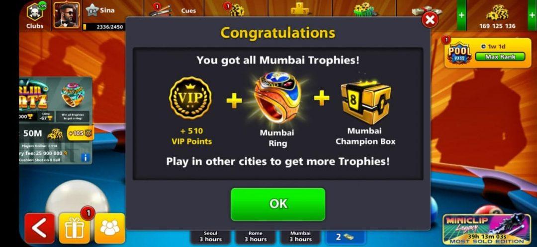 انگشتر مومبای 8 بال پول + حداقل 100 میلیون سکه