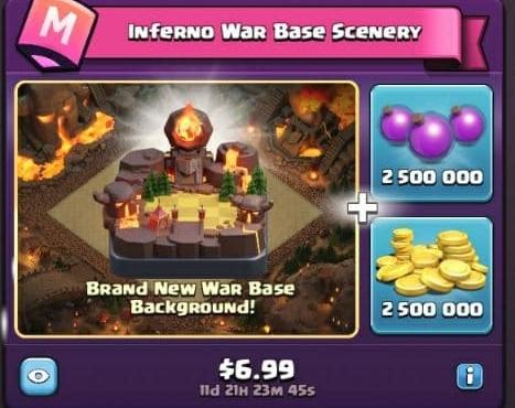 ایونت 6.99 دلاری Inferno War Base Scenery کلش اف کلنز